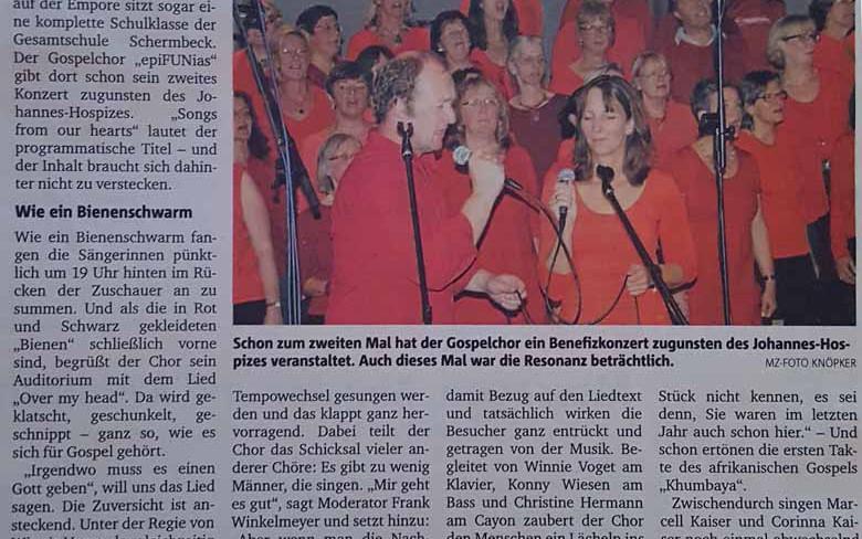 2. Oktober 2014: Benefizkonzert zugunsten des Johannes-Hospizes (Münstersche Zeitung)