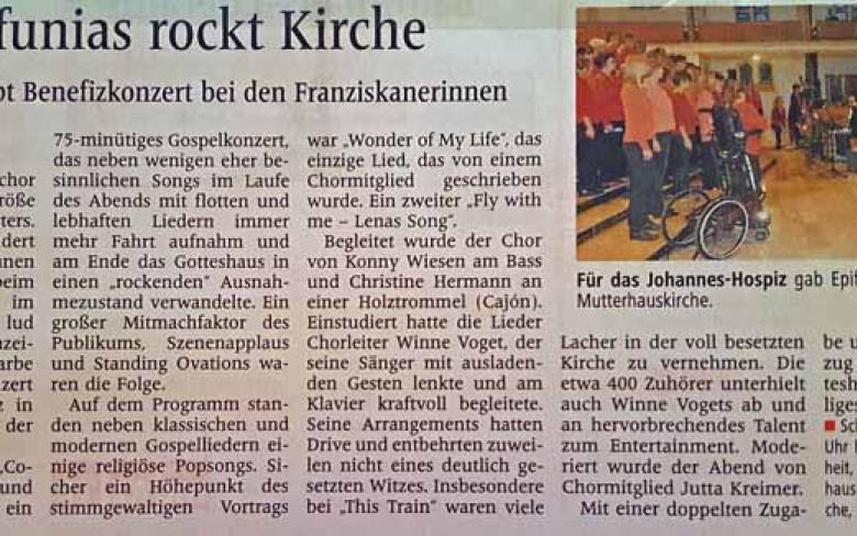 26. September 2013: Benefizkonzert in der Mutterhauskirche der Franziskanerinnen (Westfälische Nachrichten)