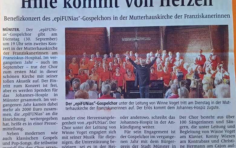 24. September 2014: Benefizkonzert in der Mutterhauskirche der Franziskanerinnen (Westfälische Nachrichten)