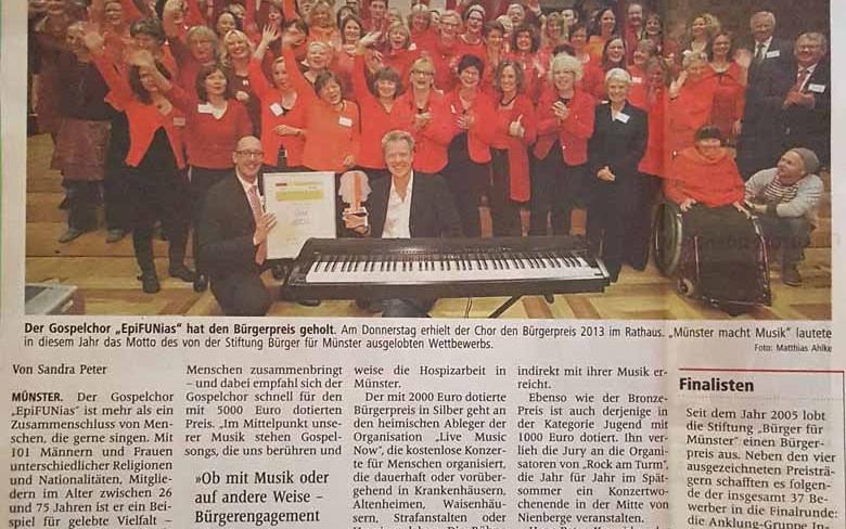 29. November 2013: epiFUNias erhält den Bürgerpreis in Gold der Stadt Münster (Westfälische Nachrichten)